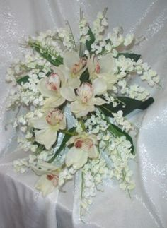 Cymbidium Orchids Lily of The Valley Cascade Bridal Bouquet Silk Wedding Flowers | eBay