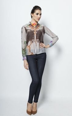 https://www.cityblis.com/4509/item/6413 | Entropy button blouse - $147 by Freak Factory | Luxurious silk and cotton mix button-up blouse in light grey with digital print. The over-sized pattern in rich autumn colours never repeats itself in two similar garments - making each blouse virtually unique. Smaller than usual classic collar and lightly draped sleeves injects fragile, but grown u... | #Tops/Blouses
