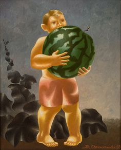 <b>VLADIMIR OVCHINNIKOV (RUSSIAN B. 1941)</b><br><i>Boy with a Watermelon</i>, 1993<br>oil on canvas<br>61 x 49 cm (24 x 19 1/4 in.)<br>signed and dated lower right; additionally signed and inscribed with title, size and date on verso<br><br><b>PLEASE NOTE</b><br>If you will be bidding live on auction day, please note that Session I of the Auction (<i>Asian and Russian Fine & Decorative Art</i>), starts at <b>10:00 AM New York Time</b> and goes from Lot 1 through Lot 254.  Session II of the…