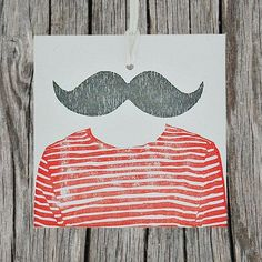 monsieur gift tags with mustache Graphic Design Illustration, Illustration Art, Stamp Carving, Thing 1, Oui Oui, Letterpress Printing, Illustrations, Fabric Painting, Decoration