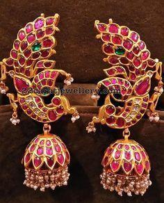 Gold Kemp Peacock Jhumka Designs, Gold Kemp Jhumka Designs for Bharatnatyam Dancers. Antic Jewellery, Gold Jewellery Design, Bridal Jewellery, Saree Jewellery, Designer Jewellery, Temple Jewellery, Diamond Jewellery, Silver Jewellery, Wholesale Gold Jewelry