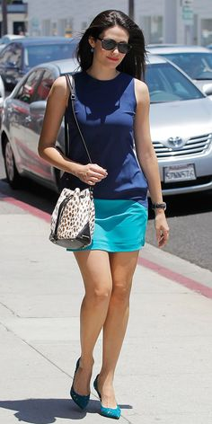 Emmy Rossum Is Spotted With The Chicest Little Bucket Bag and Color Blocked Of Mercer Dress via @WhoWhatWear