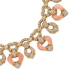 Gold, Coral and Diamond Necklace, Andreoli Provenance: Christies, The Collection of Elizabeth Taylor: Jewelry (II), December lot Jewelry Gifts, Fine Jewelry, Jewelry Necklaces, Elizabeth Taylor Jewelry, Coral Jewelry, Coral Turquoise, Round Diamonds, Topaz, Chokers