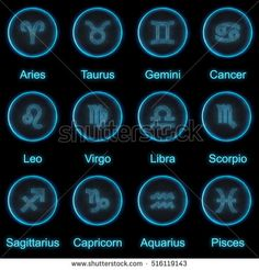 Set of horoscope Astrology Zodiac Signs or symbol. Call Metallic silver and light on black background. Glowing and shining blue neon style. 3D buttons set