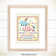 Wedding cross stitch pattern - Mr and Mrs with Love Birds (Deep Love ver) , Wedding Announcement , modern cross stitch