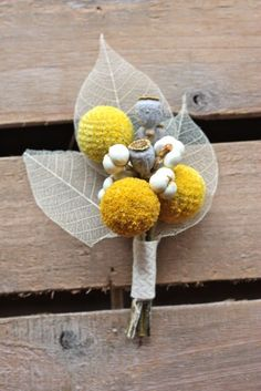 Boutonniere in yellow and white with tallow berries and billy buttons