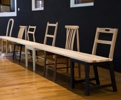 Interesting idea... upcycled vintage old wooden chairs repurposed into one long bench, add wood plank for entry way or office waiting room; upcycle, recycle, salvage, diy, repurpose!  For ideas and goods shop at Estate ReSale & ReDesign, Bonita Springs, FL