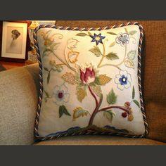 Amazon.com - Crewel Pillow The Tulip Tree Multi Cotton Duck (20X20) - Throw Pillow Covers