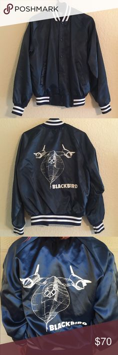 Jersey Button-Up Vintage Jacket In perfect condition. Metallic blue polyester vintage jacket! Blackbird is an aircraft that was used by the United States Air Force. Jackets & Coats