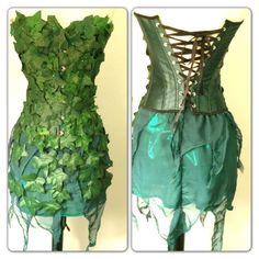 Poison Ivy 3 pc Corset Costume Set Batman Villan Custom Size Comic Co…