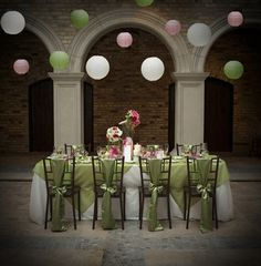 Pink and green guest table.  Could the Japanese hanging lights be any more beautiful?
