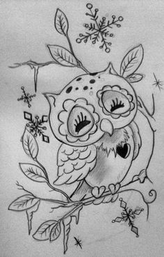Girly Owl Drawing Snow Owl by Lilmrsfrankenstein Tattoo Sketches, Tattoo Drawings, Art Drawings, Love Tattoos, Beautiful Tattoos, Gatos Cool, Owl Tattoo Design, Tattoo Designs, Owl Art