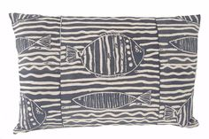 Fish stripe pillow in Indigo Printed Cushions, Indigo, Throw Pillows, Fish, Prints, Cushions, Decorative Pillows, Indigo Dye, Decor Pillows
