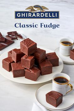 Holiday Baking Recipes & Chocolate Holiday Desserts Try Classic Fudge made with two types of rich, smooth Ghirardelli chocolate this holiday season! It's simple to make, easy to share and makes life a Fudge Recipes, Candy Recipes, Chocolate Recipes, Baking Recipes, Cookie Recipes, Dessert Recipes, Baking Chocolate, Pumpkin Recipes, Holiday Recipes