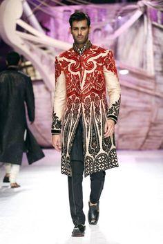 JJ Valaya's Red & Black sherwani