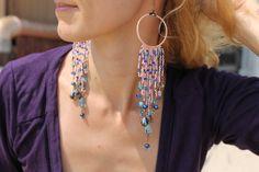 Long Boho Chic earrings macrame earrings by HamelinsSecretGarden