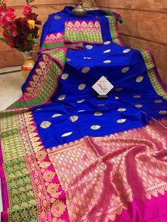 Midnight Blue and Deep Pink Color Katan Banarasi Saree Indian Silk Sarees, Pure Silk Sarees, Cotton Saree, Wedding Silk Saree, Wedding Fabric, Pink Half Sarees, Half Saree Lehenga, Banaras Sarees, Wedding Saree Collection