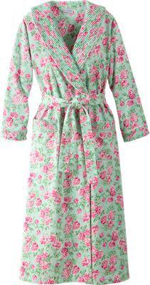 90efc1dd7b Lanz Cotton Flannel Wrap Robe With Shawl Collar Edith act 3 Sleepwear  Women