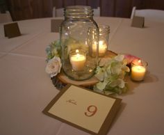 Table: note the cut log for centerpiece