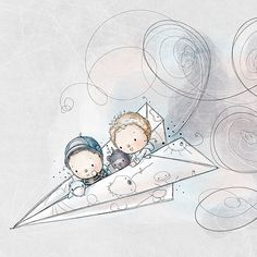 Kids flying a paper airplane by Rachelle Anne Miller. Would make absolutely adorable nursery art print. Art And Illustration, Watercolor Illustration, Baby Art, Nursery Art, Cute Drawings, Cute Art, Illustrators, Art For Kids, Cute Pictures
