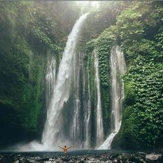 Dreamlike waterfall on Lambok island, Indonesia. The place which is popular above travelers who`re looking for something special and unusual. And it really is - nature on the island can literally surprise and delight you. Just cast into the water and allow the sparkling water rejuvenate you.