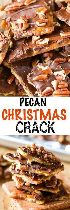 :D Pecan Christmas Crack. (Ritz Cracker Toffee) Imagine all of the deliciousness of toffee, topped with chocolate and pecans; once you make this toffee bark and crack it into pieces, you simply can't stop munching! Köstliche Desserts, Holiday Desserts, Holiday Baking, Holiday Treats, Holiday Recipes, Delicious Desserts, Dessert Recipes, Christmas Recipes, Homemade Christmas