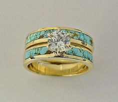 14 Karat Yellow Gold Wedding Set With Turquoise and Diamond - HOW UNIQUE!