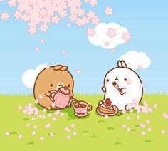 molang-official: Picnic with a friend! Kawaii Bunny, Cute Kawaii Animals, Kawaii Chibi, Cute Chibi, Kawaii Art, Cute Kawaii Drawings, Kawaii Doodles, Cute Animal Drawings, Kawaii Illustration