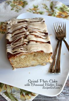 Spiced Pear Cake with Browned Butter Icing | Recipe Girl