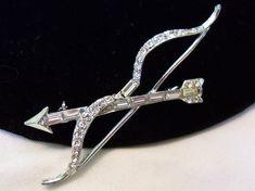 ART DECO Jewelry Bow Arrow Glass Rhinestone by AnnesGlitterBug