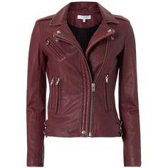 IRO Women's Han Leather Biker Jacket found on Polyvore featuring outerwear, jackets, coats, leather jackets, genuine leather jackets, burgundy moto jacket, leather motorcycle jacket and lined leather jacket