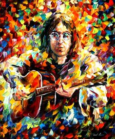 John Lennon - Art by Leonid Afremov. Psychedelic art was at its height in the along with the psychedelic culture and music. John Lennon, Arte Pop, Beatles Art, The Beatles, Oil Painting On Canvas, Painting Prints, Artist Painting, Music Painting, Music Artwork