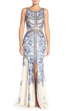 TeraniCouture Embellished Sleeveless Gown available at #Nordstrom