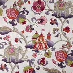 Sultans Walk Ruby Red Floral Cotton Drapery Fabric - 53113 - Buy Fabrics - Buy Discount Designer Fabrics | BuyFabrics.com