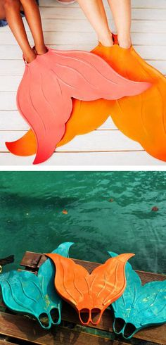 Mermaid fins. Totally  wish they had these when I was a kid! I always wanted to swim like Ariel!