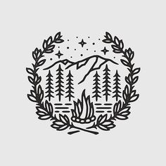 This one's available  #graphicdesign #design #illustration #art #artwork #drawing #handdrawn #slowroastedco #nature #outdoors #travel #camping #explore #mountains #campfire #tattoo