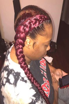 Two Braids . can find Long braids and more on our website. Two Braids, Long Braids, Close Up, Website, Hair Styles, People, Beauty, Two French Braids, Hair Plait Styles