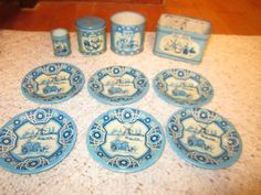 Vintage Child's Wolverine Blue Delph Tin Toy Canisters Bread Box Plates | eBay