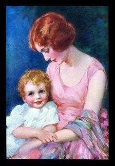 VINTAGE 1940'S LITHOGRAPH CALENDAR ART PRINT-MOTHER-CHILD PORTRAIT