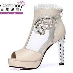 Rhinestone & Lace High-Heeled Breathable Gauze Open Toe Sandal Shoes