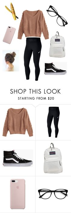 """Casual Winter Day"" by kristinacutie ❤ liked on Polyvore featuring NIKE, Vans, JanSport, EyeBuyDirect.com and Maybelline"