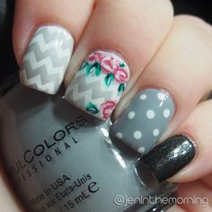 Chevron and Roses  Sinful Colors – Snow Me White Sinful Colors – Cool Gray Sinful Colors – Secret Admirer, acrylic paint Bundle Monster 423 #nail #nails #manicure #chevron #nailartsep