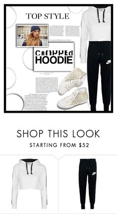 """Cropped Hoodie"" by decisivedreamer ❤ liked on Polyvore featuring Whiteley, Topshop and NIKE"