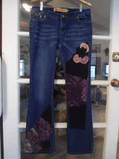 Size 11/12 Apple Bottoms Jeans Upcycled Redesigned Repurposed Patched Hippie Boho Style Blue Jeans by LandofBridget on Etsy