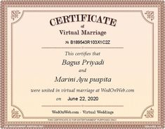 Virtual Marriage Certificate of Bagus & Marini - WEDonWEB Wedding Certificate, Marriage Certificate, Renz, Got Married, Congratulations, Place Card Holders, The Unit, Entertaining, Quotes