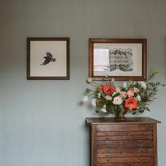 Pretty flowers/wall colour/wood. Spare room colour? Anna Potter's Home | Design*Sponge