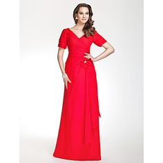 V-neck Sheath/Column Floor-length Chiffon Bridesmaid Dress With Side-Draping – US$ 129.99