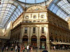 Central Galleria Mall, Milan. The central octagonal space is topped with a glass dome. The Milanese Galleria was larger in scale than its predecessors and was an important step in the evolution of the modern glazed and enclosed shopping mall, of which it was the direct progenitor. It has inspired the use of the term galleria for many other shopping arcades and malls. © 2014 Stella Lucente, LLC www.learntravelitalian.com