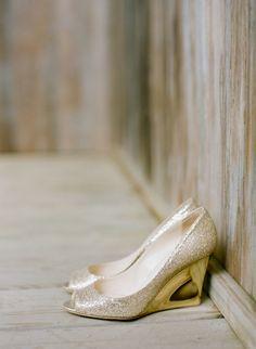 gold Jimmy Choo wedges // photo by Stacey Hedman // View more: http://ruffledblog.com/romantic-marthas-vineyard-wedding/