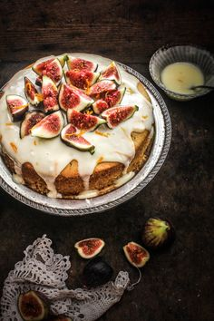 """Butterscotch Cake With Orange Sour Cream Glaze And Figs"""